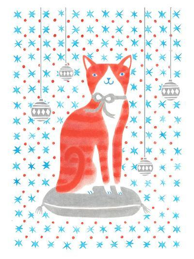 Orange Holiday Cat-Advocate Art-Art Print