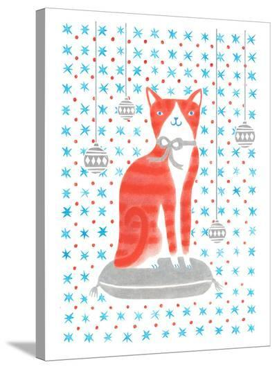 Orange Holiday Cat-Advocate Art-Stretched Canvas Print