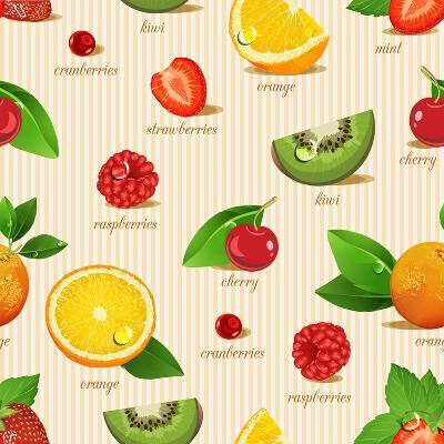 Orange, Kiwi, Cherry, Strawberries, Cranberries, Raspberries-Tatsiana Tsyhanova-Art Print