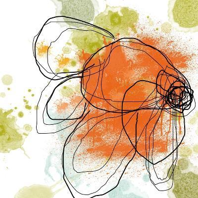 Orange Liquid Flower-Jan Weiss-Art Print