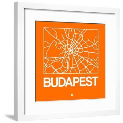 Orange Map of Budapest-NaxArt-Framed Premium Giclee Print