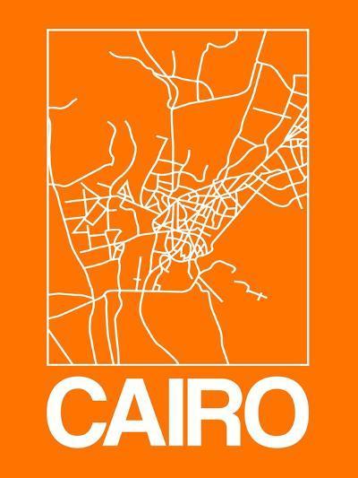 Orange Map of Cairo-NaxArt-Art Print