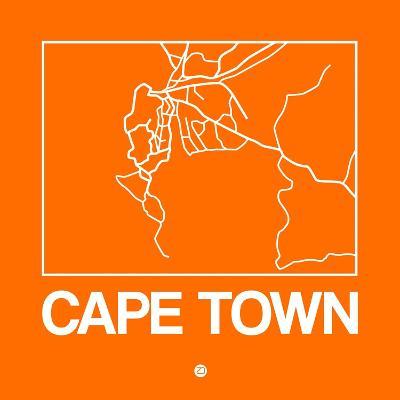 Orange Map of Cape Town-NaxArt-Art Print