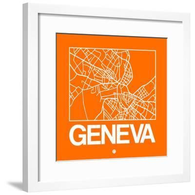 Orange Map of Geneva-NaxArt-Framed Premium Giclee Print