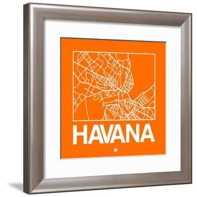 Orange Map of Havana-NaxArt-Framed Premium Giclee Print