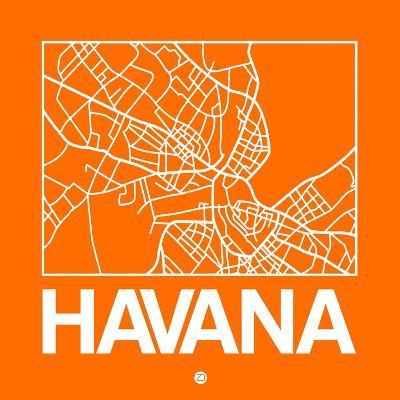 Orange Map of Havana-NaxArt-Art Print