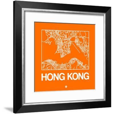 Orange Map of Hong Kong-NaxArt-Framed Premium Giclee Print