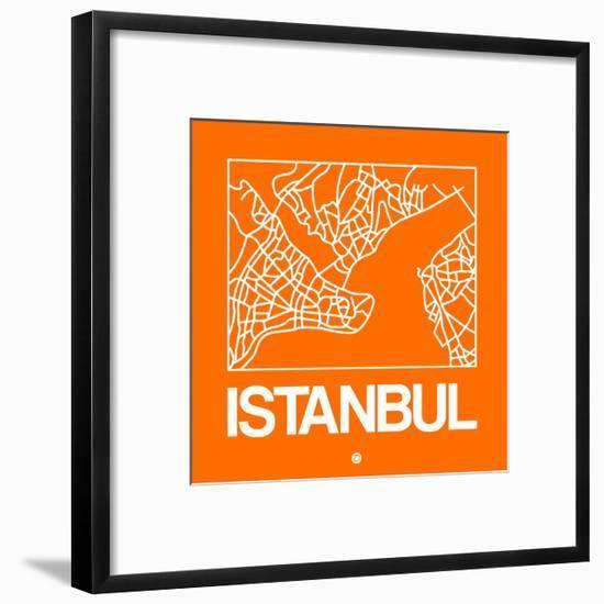 Orange Map of Istanbul-NaxArt-Framed Art Print