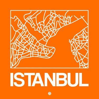 Orange Map of Istanbul-NaxArt-Art Print