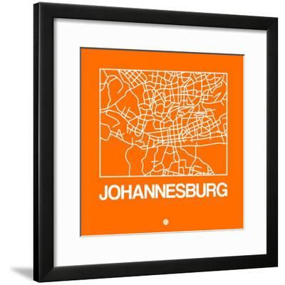 Orange Map of Johannesburg-NaxArt-Framed Premium Giclee Print