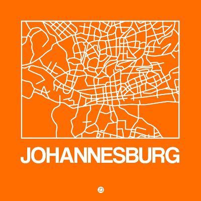 Orange Map of Johannesburg-NaxArt-Art Print