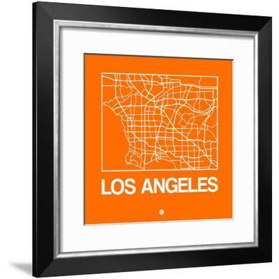 Orange Map of Los Angeles-NaxArt-Framed Premium Giclee Print