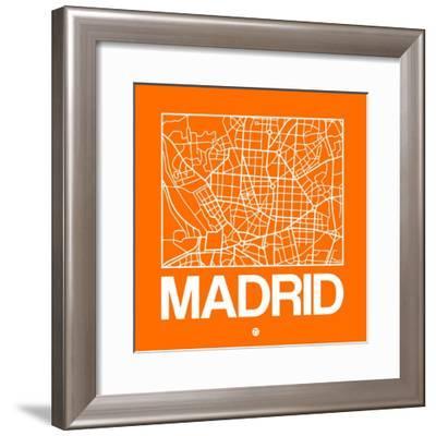 Orange Map of Madrid-NaxArt-Framed Premium Giclee Print