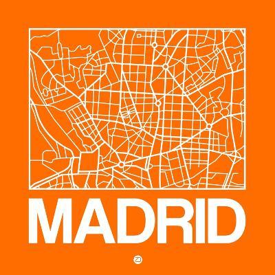 Orange Map of Madrid-NaxArt-Art Print