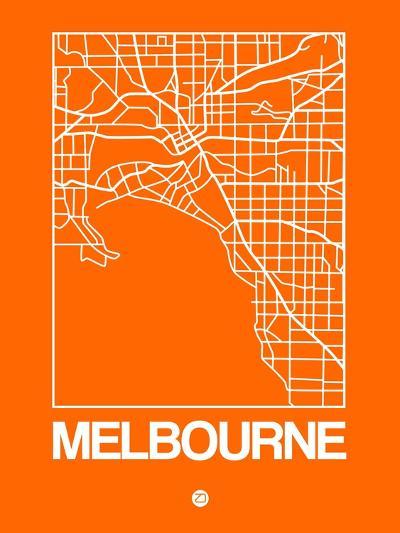 Orange Map of Melbourne-NaxArt-Art Print