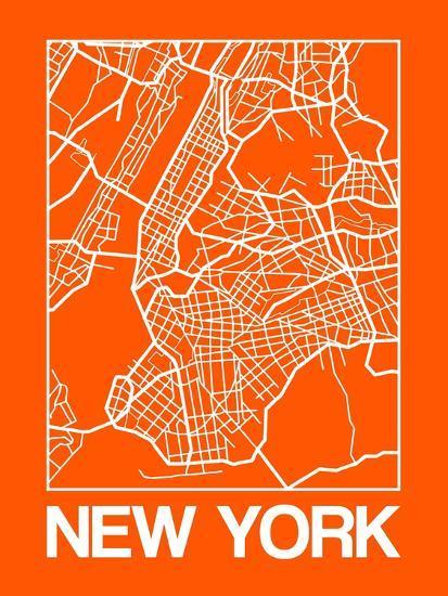 Orange Map of New York-NaxArt-Premium Giclee Print