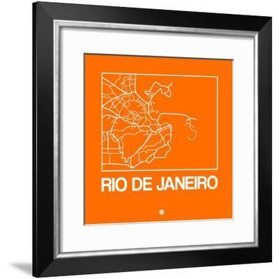 Orange Map of Rio De Janeiro-NaxArt-Framed Premium Giclee Print