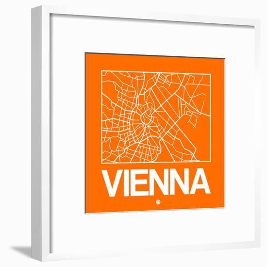Orange Map of Vienna-NaxArt-Framed Art Print