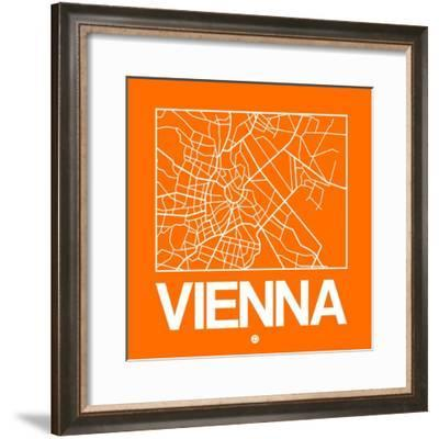 Orange Map of Vienna-NaxArt-Framed Premium Giclee Print