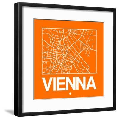 Orange Map of Vienna-NaxArt-Framed Premium Giclee Print