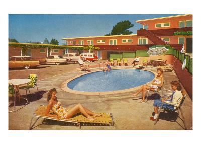 Orange Motel Courtyard--Art Print