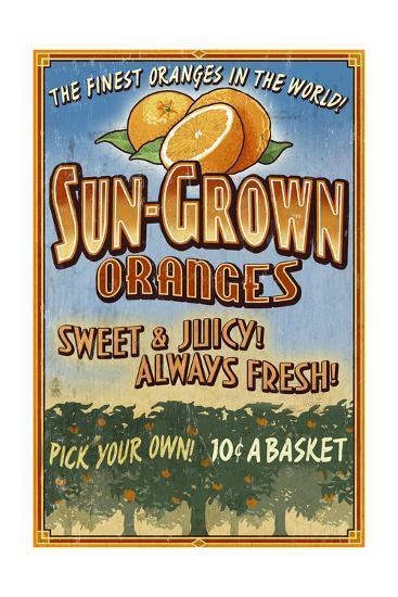Orange Orchard - Vintage Sign-Lantern Press-Art Print