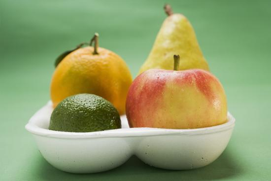 Orange, Pear, Lime and Apple in Polystyrene Tray-Foodcollection-Photographic Print