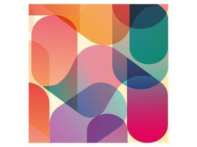 Orange Pink Blue Blend Abstract--Art Print