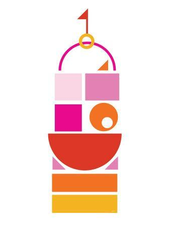 Orange Pink Large Castle-Avalisa-Art Print