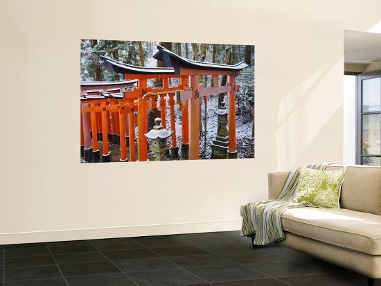 Orange-Red Gates (Tori) Lining Pathways of Fushimi-Inari-Taisha Shrine-Frank Carter-Wall Mural