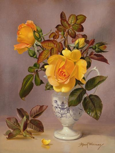 Orange Roses in a Blue and White Jug-Albert Williams-Giclee Print