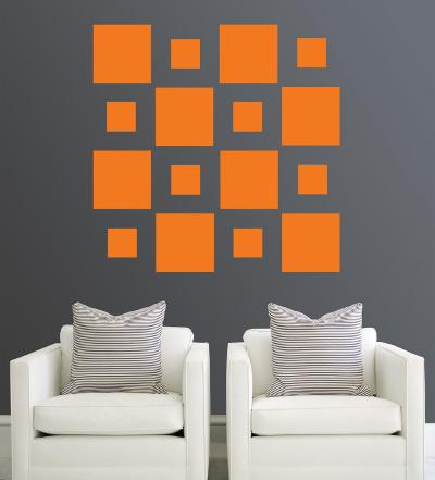 Orange Squares--Wall Decal