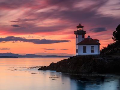 Orange Sunset at Lime Kiln Lighthouse-Shawn/Corinne Severn-Photographic Print