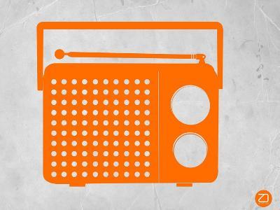 Orange Transistor Radio-NaxArt-Art Print