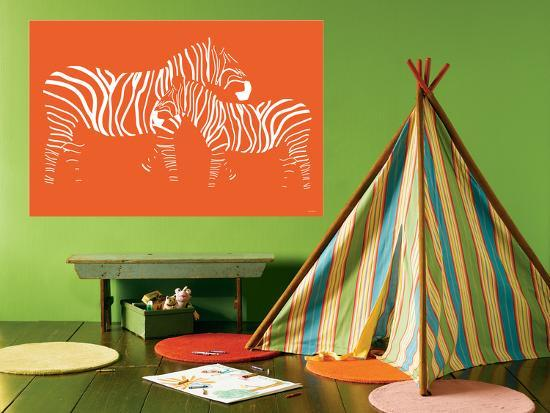 Orange Zebra-Avalisa-Giant Art Print