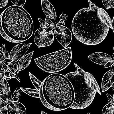 Oranges and Flowers. Vector Seamless Pattern.Vintage Style-Rina Oshi-Art Print