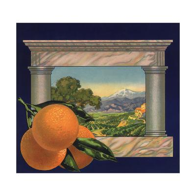 Oranges and Orchard - Citrus Crate Label-Lantern Press-Art Print