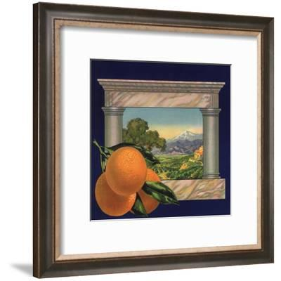 Oranges and Orchard - Citrus Crate Label-Lantern Press-Framed Art Print