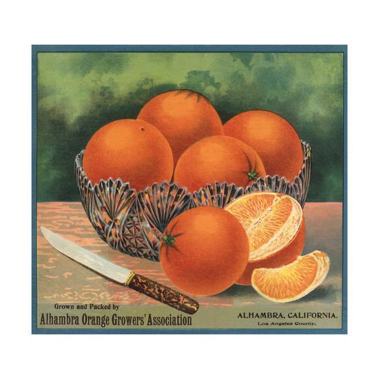 Oranges in Bowl - Alhambra, California - Citrus Crate Label-Lantern Press-Art Print