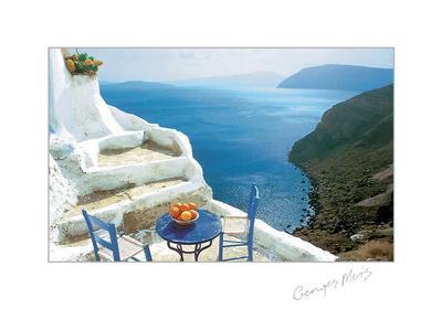 Oranges on Blue Table-George Meis-Art Print