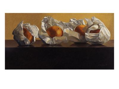 Oranges Wrapped in White Paper-Helen J^ Vaughn-Giclee Print