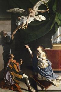 Saints Cecilia, Valerian, and Tiburcio, Circa 1620 by Orazio Gentileschi