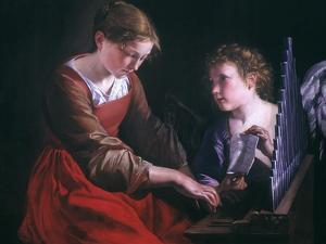St. Cecilia And An Angel by Orazio Gentileschi
