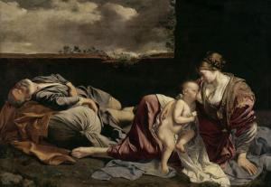 The Rest of the Holy Family on the Flight into Egypt by Orazio Gentileschi