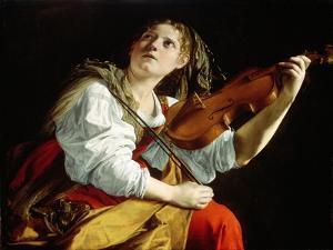 Young Woman with a Violin, c.1612 by Orazio Gentileschi