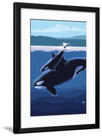 Orca and Calf, c.2009-Lantern Press-Framed Art Print