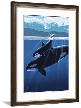 Orca and Calf (Mountains)-Lantern Press-Framed Art Print