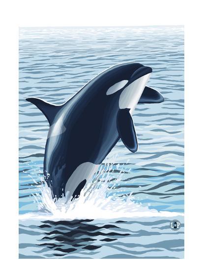 Orca Whale Jumping-Lantern Press-Art Print