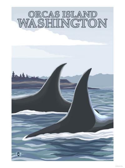 Orca Whales No.1, Orcas Island, Washington-Lantern Press-Art Print