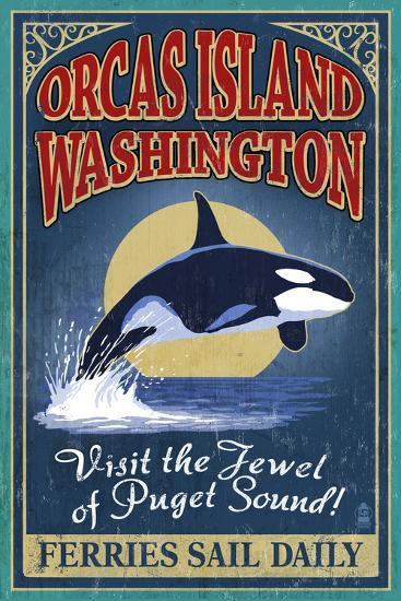 Orcas Island, WA - Orca Whale Vintage Sign-Lantern Press-Art Print